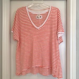 Free People Oversized V-Neck Striped Tee